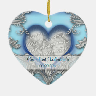 First valentine blue silver PHOTO Ornaments