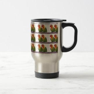 """""""Fischer's Lovebird"""" Stainless Steel Travel Mug"""
