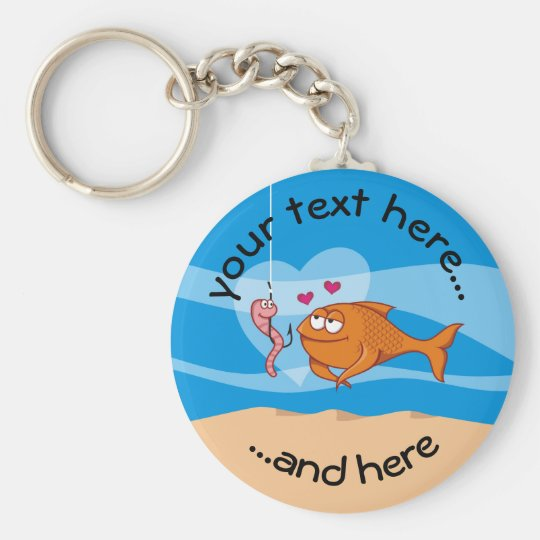 Fish and Bait in Love Basic Round Button Key Ring