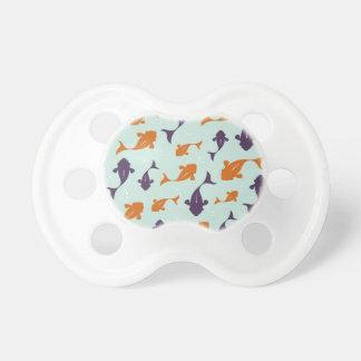 Fish Bowl   Aqua Orange Pattern Design BooginHead Pacifier