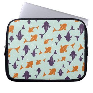 Fish Bowl   Aqua Orange Pattern Design Laptop Computer Sleeves