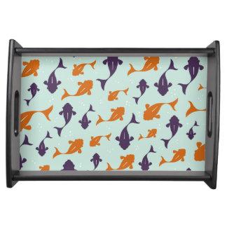 Fish Bowl   Aqua Orange Pattern Design Service Tray