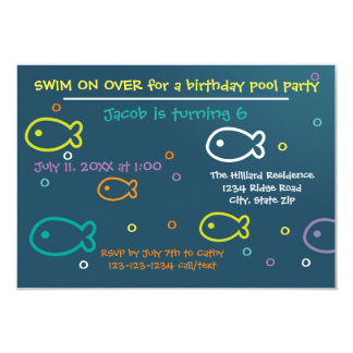 Fish & Bubbles - 3x5 B-day Pool Party Invitation