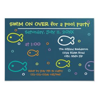 Fish & Bubbles - 3x5 Pool Party Invitation
