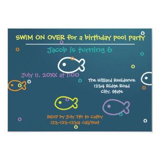 Fish & Bubbles - Birthday Pool Party Invitation