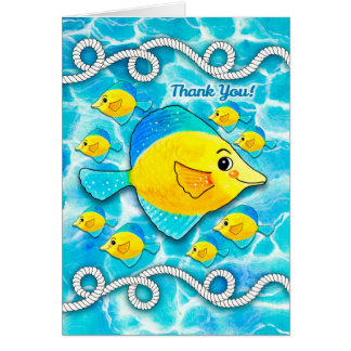 Fish in Ocean Nautical Theme Thank You for Support Card