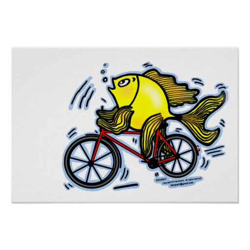 Fish need bicycle funny cartoon Poster