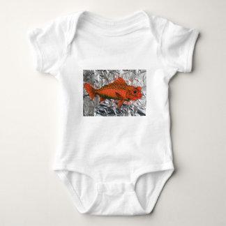 Fish on foil baby bodysuit
