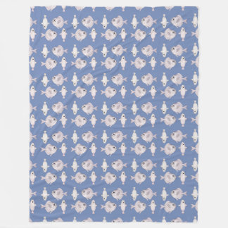 Fish Pattern Fleece Blanket, Large