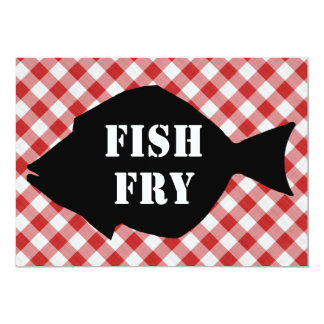 Fish Silo on Red & White Checked Cloth Fish Fry 13 Cm X 18 Cm Invitation Card
