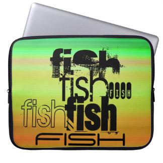 Fish; Vibrant Green, Orange, & Yellow Laptop Computer Sleeves