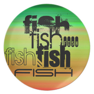 Fish; Vibrant Green, Orange, & Yellow Party Plate