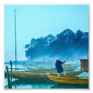 Fisherman at Dawn Vintage Japan Hand Colored Photo Print