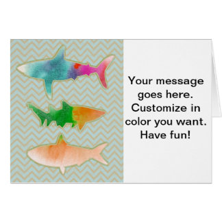 Fishes on zigzag chevron - Orange and Blue Greeting Card
