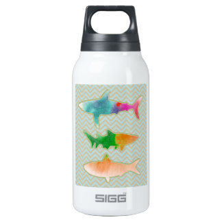 Fishes on zigzag chevron - Orange and Blue Insulated Water Bottle