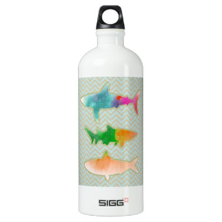 Fishes on zigzag chevron - Orange and Blue SIGG Traveller 1.0L Water Bottle