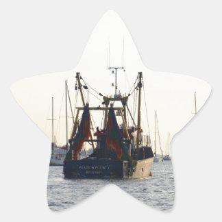 Fishing Boat Peace And Plenty At Dawn Star Sticker