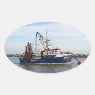 Fishing Boat Peace And Plenty Oval Sticker