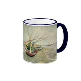 Fishing Boats on the Beach by Vincent van Gogh Ringer Coffee Mug