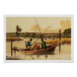 Fishing in a Punt, aquatinted by I. Clark, pub. by Posters