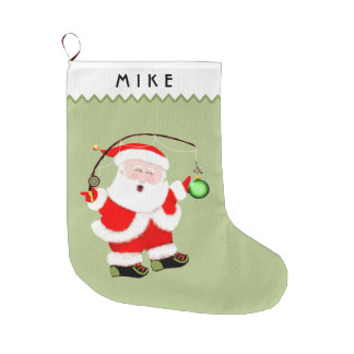 Fishing Santa Large Christmas Stocking