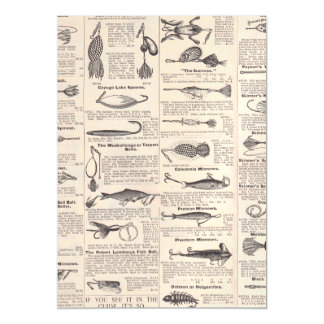 Fishing Vintage Advertising Newsprint Magnetic Invitations