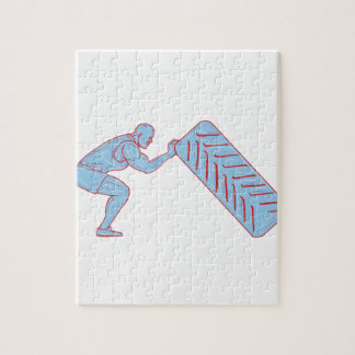 Fitness Athlete Pushing Back Tire Workout Drawing Jigsaw Puzzle