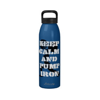 fitness keep calm and pump iron drinking bottles