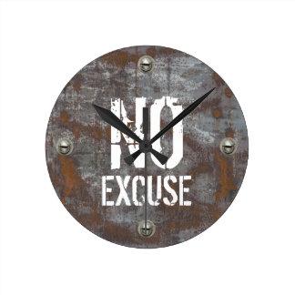 Fitness Training No Excuse Rusty Metal Round Clock