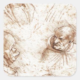 Five caricature heads by Leonardo da Vinci Square Sticker