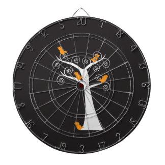 Five Orange Birds in a Tree Dartboad Dart Board