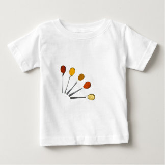 Five seasoning spices on metal spoons baby T-Shirt