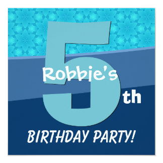 Five Year Old Birthday Blue Pattern For Boy V06D1A 13 Cm X 13 Cm Square Invitation Card