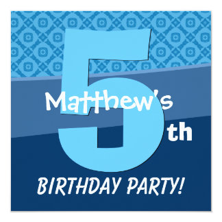 Five Year Old Birthday Blue Pattern For Boy V06D 13 Cm X 13 Cm Square Invitation Card