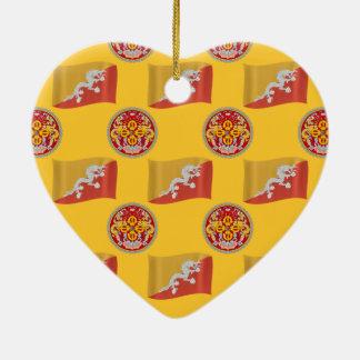 Flag and Crest of Bhutan Christmas Ornament