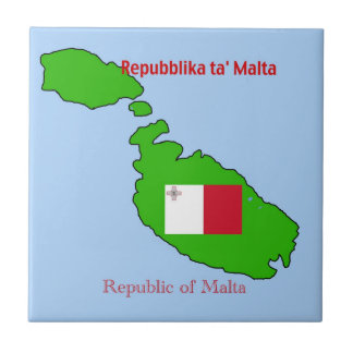 Flag and Map of Malta Tile