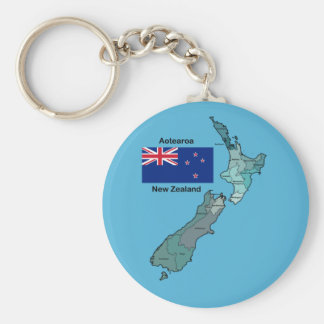 Flag and Map of New Zealand Basic Round Button Key Ring