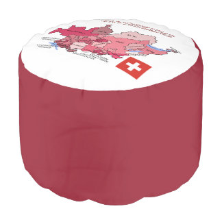 Flag and Map of Switzerland Pouf