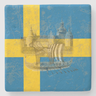 Flag and Symbols of Sweden ID159 Stone Coaster