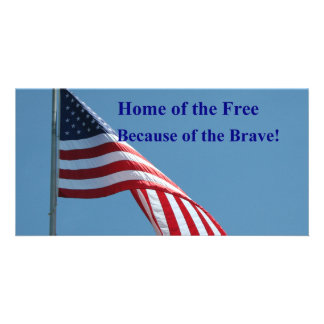 Flag, Home of the Free! Personalized Photo Card