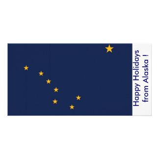 Flag of Alaska, Happy Holidays from U.S.A. Customised Photo Card