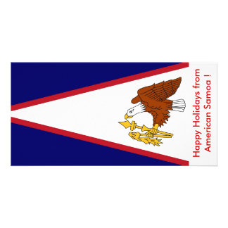 Flag of American Samoa, Happy Holidays from U.S.A. Photo Greeting Card