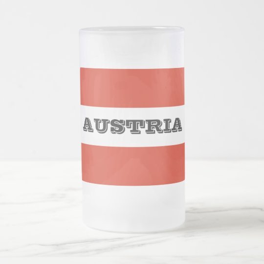 Flag of Austria Frosted Glass Beer Mug