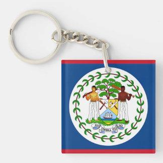 Flag of Belise Double-Sided Square Acrylic Key Ring