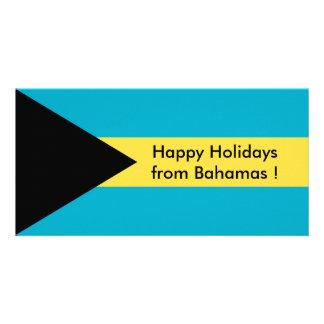 Flag of Belise, Happy Holidays from Bahamas Personalised Photo Card