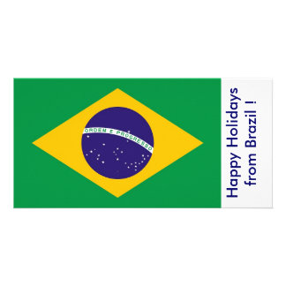 Flag of Brazil, Happy Holidays from Brazil Personalized Photo Card