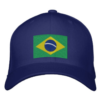 Flag of Brazil in Green, Yellow and Blue Embroidered Hat