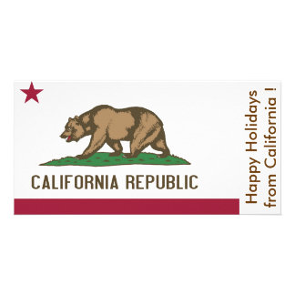 Flag of California, Happy Holidays from U.S.A. Photo Card Template