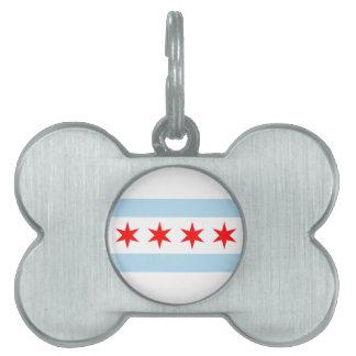 Flag of Chicago Dog Bone Tag Pet Tags