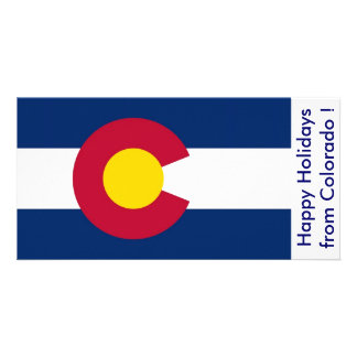 Flag of Colorado, Happy Holidays from U.S.A. Customized Photo Card